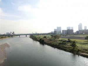 丸子橋から見た多摩川